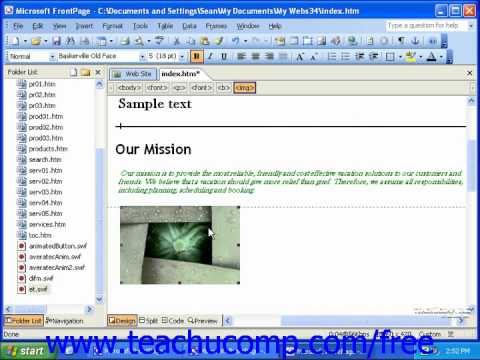 FrontPage Tutorial Viewing the HTML Code Microsoft Training Lesson 4.5