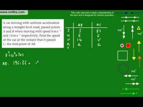 (6) M1 Mechanics Revision Topics - Past exam question on kinematics