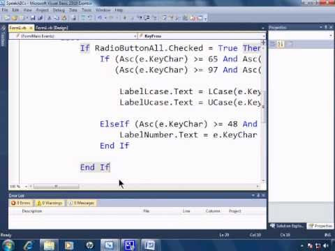 Visual Basic 2010 Express Tutorial 19 - RadioButtons and ASCII Values - SpeakABCs 3/11