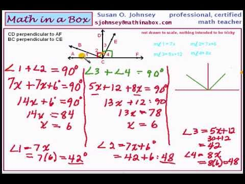 Perpendicular Lines and Complementary Angles