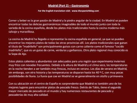 Spanish English Parallel Texts Madrid (Part 2) Gastronomía