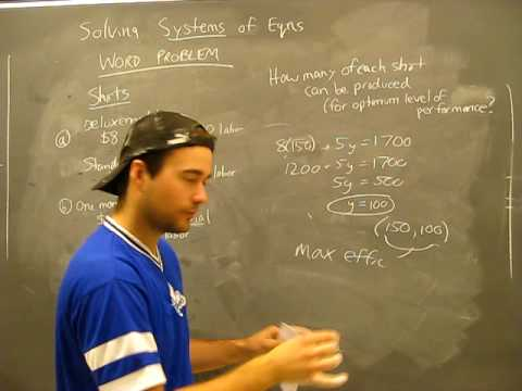 Solving Systems of Equations WORD PROBLEM 5: Substitution, Elimination Method Algebra Math Help