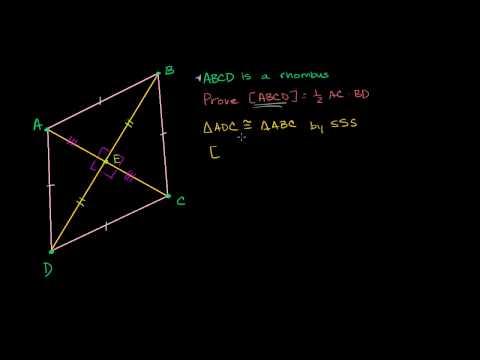 Proof - Rhombus Area Half Product of Diagonal Length