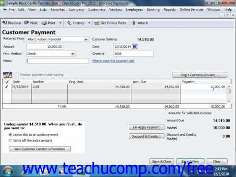 QuickBooks 2011 Tutorial Entering a Partial Payment Intuit Training Lesson 10.2
