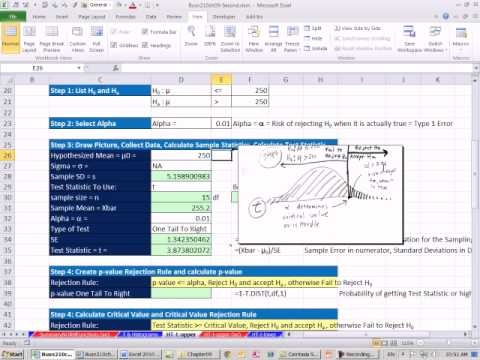Excel 2010 Statistics 82: 1 Tail Right t Distribution Mean Hypothesis Testing P-value Critical Value