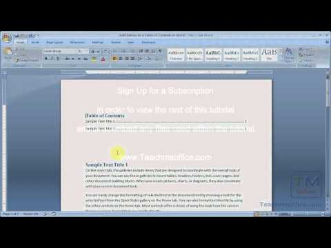 Add Entries to a Table of Contents in Word