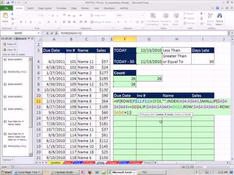 Excel Magic Trick 754: Extract Records For Invoices 30 Days Past Due -- Formula Method