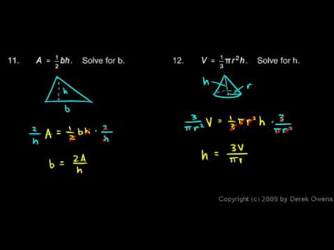 Algebra Review 13.6 - Formulas