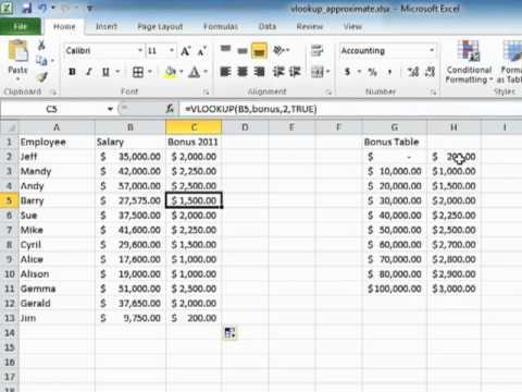 Learning Excel 2010 - Find A Near Match In A Lookup