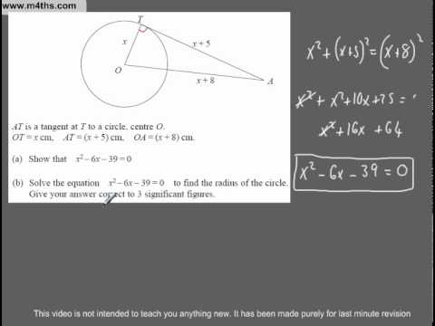 (Q251) A Star GCSE Revision Questions Tangents and quadratics
