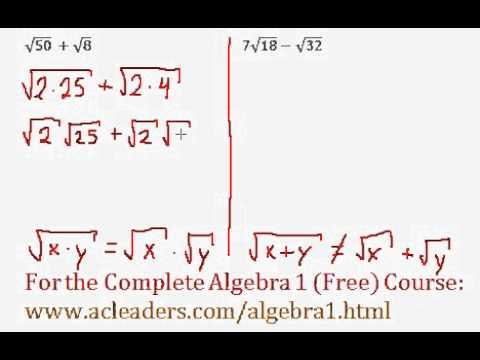 (Algebra 1) Radicals - Adding Square Roots #3