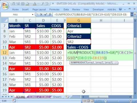 Excel Magic Trick 339: Sum Differences with 2 Criteria SUMPRODUCT