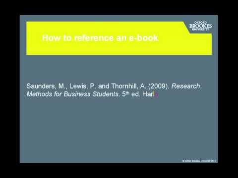 Referencing an e-book - Brookes Harvard Style