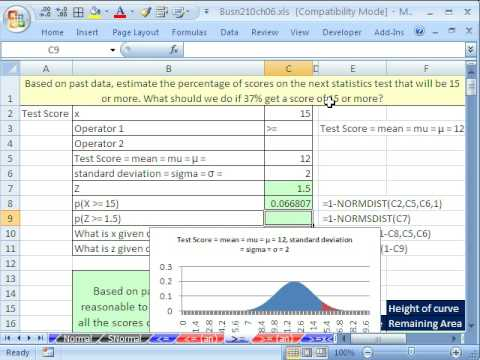 Excel Statistics 70: #2 Normal Probability Excel Functions & Area Charts