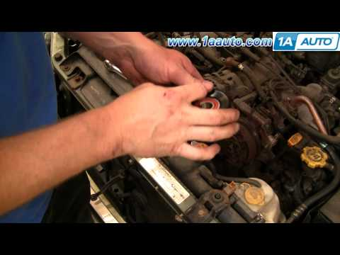 How To Install Replace Serpentine Engine Belt Tensioner Pulley Subaru Outback 2.5L 00-04 1AAuto.com