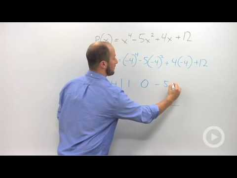 Algebra 2 - Using Synthetic Division to Evaluate Polynomials