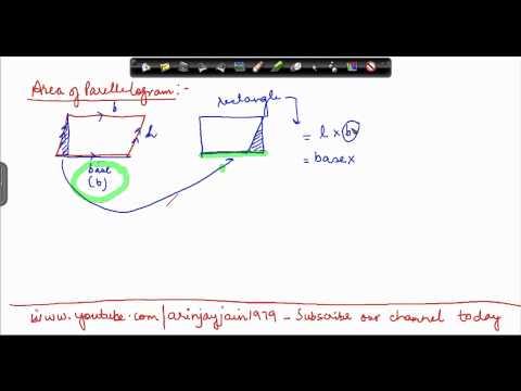 1399. Mathematics Class VII - CBSE, ICSE NCERT Area of a Parellelogram