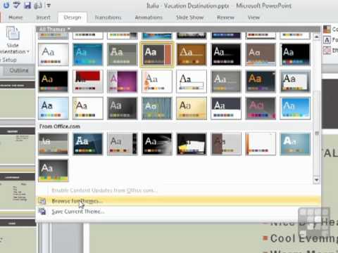 Powerpoint 2010 Tutorial - How to Use Presentation Themes