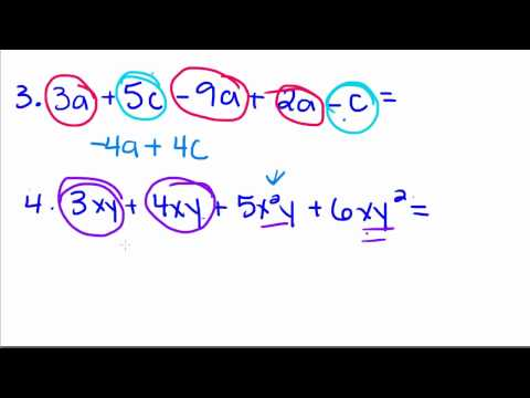 Algebra Tutorial - 4 - Combining Like Terms