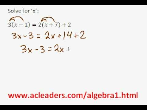 Algebra 1 - Solving Equations w/ Distributive Property (pt. 1)