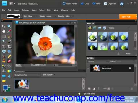 Photoshop Elements 9.0 Tutorial The Eraser Tool Adobe Training Lesson 6.7