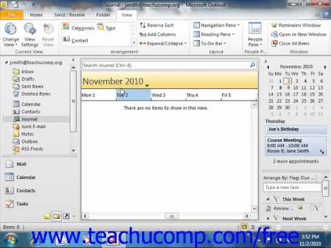 Outlook 2010 Tutorial Switching the Journal View Microsoft Training Lesson 9.2