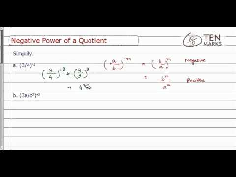 Negative Power of a Quotient Property