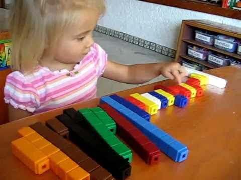 Toddler - Math: Colored number cubes to make patterns. Tall and short, big and small.