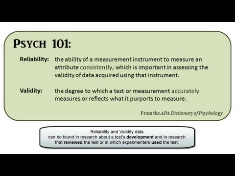 Reliability and Validity in PsycTESTS via EBSCOhost