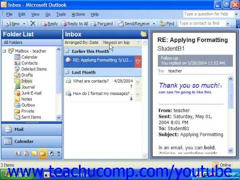 Outlook 2003 Tutorial Sorting the Inbox Microsoft Training Lesson 3.8