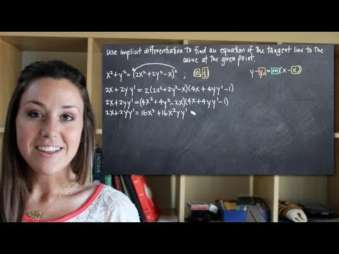 Use implicit differentiation to find the equation of the tangent line at a point