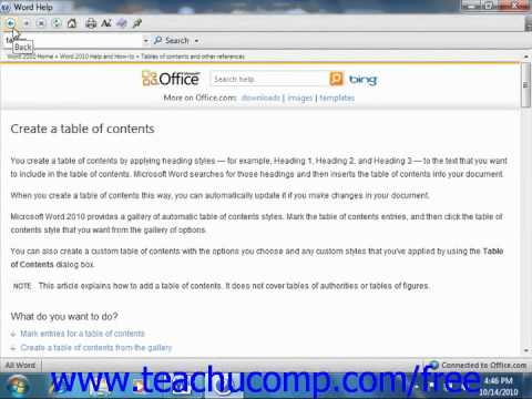 Word 2010 Tutorial Using Word Help Microsoft Training Lesson 10.1
