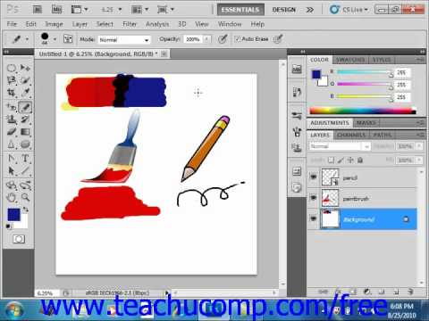 Photoshop CS5 Tutorial The Pencil Tool Adobe Training Lesson 5.4