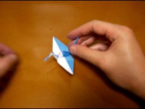 origami crane of two colors 2