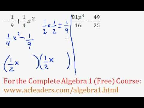 Polynomials - Difference of Two Squares Question #9