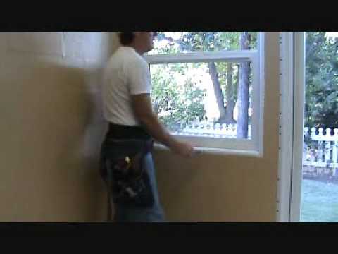 Floating out an existing spray textured wall ledge around a window opening