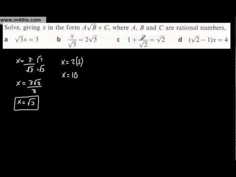 (e) Core 1 Surds (harder problems and practical applications) - solving equations 1