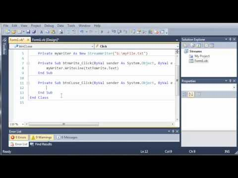 Visual Basic Tutorial - 124 - StreamWriters