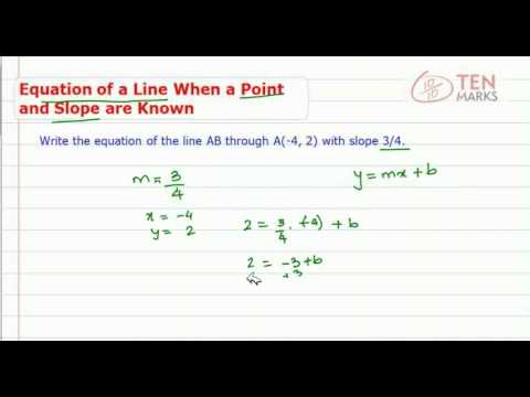 Equation of a Line when a Point and Slope are Known