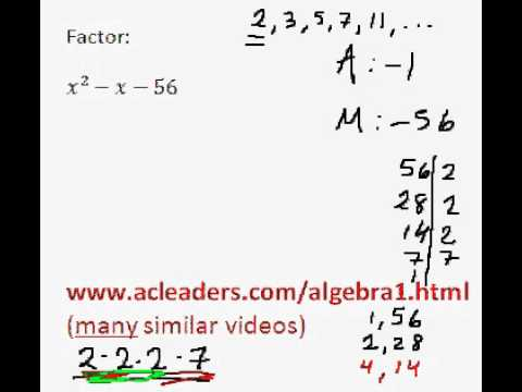 Factoring Trinomials by grouping - (pt. 7)