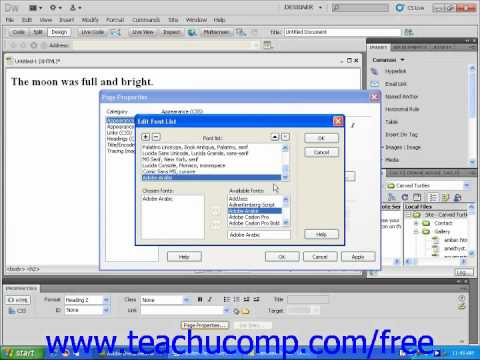 Dreamweaver CS5 Tutorial Using Custom Fonts Adobe Training Lesson 3.8