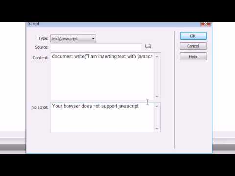 Dreamweaver CS4 Tutorial - 20 - Inserting JavaScript
