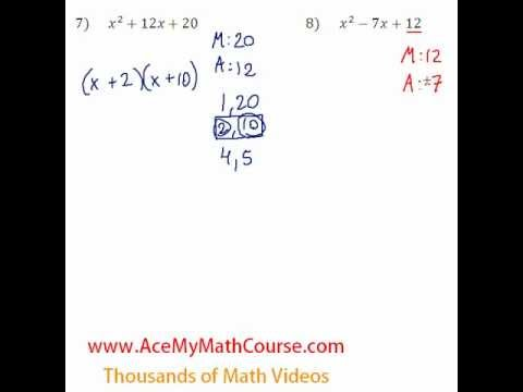 Polynomials - Factoring Trinomials Question #8