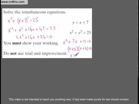 (Q71) A Star GCSE Revision Linear and Simultaneous equations intersection