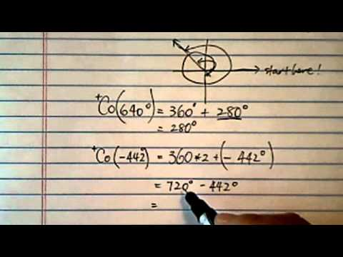 Co-terminal Angles (part 2 of 3): co-terminal angles for 640 degrees, -442 degrees, 11pi/3, -35pi/18