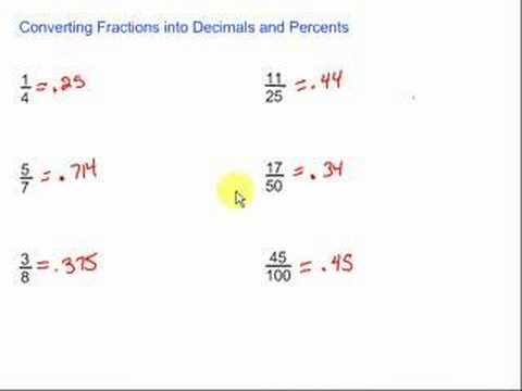Converting Fractions into Decimals & Percents