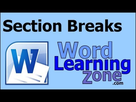 Microsoft Word 2007 Section Breaks & Page Numbering