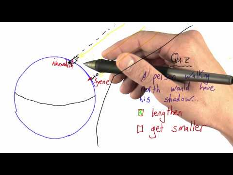 Parallel Rays Solution  - Intro to Physics - Circumference of Earth - Udacity