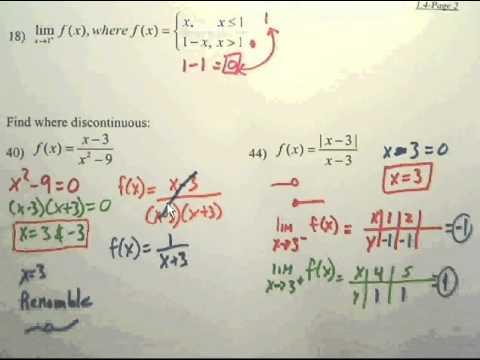 Limits Review (Ch 1) - Calculus