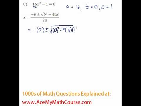 Quadratic Formula #8